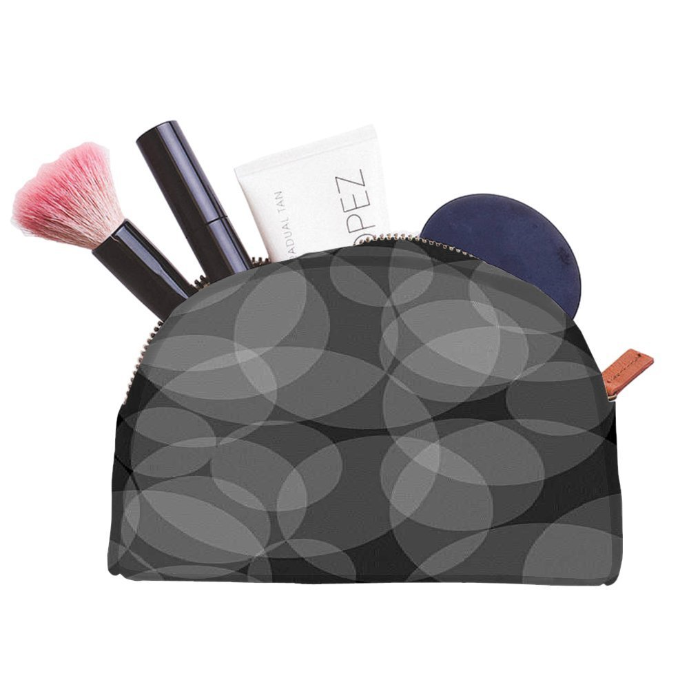 Snoogg Grey Circles Abstract Pattern Designer Multifunctional Canvas Pen Bag Pencil Case Makeup Tool Bag Storage Pouch Purse