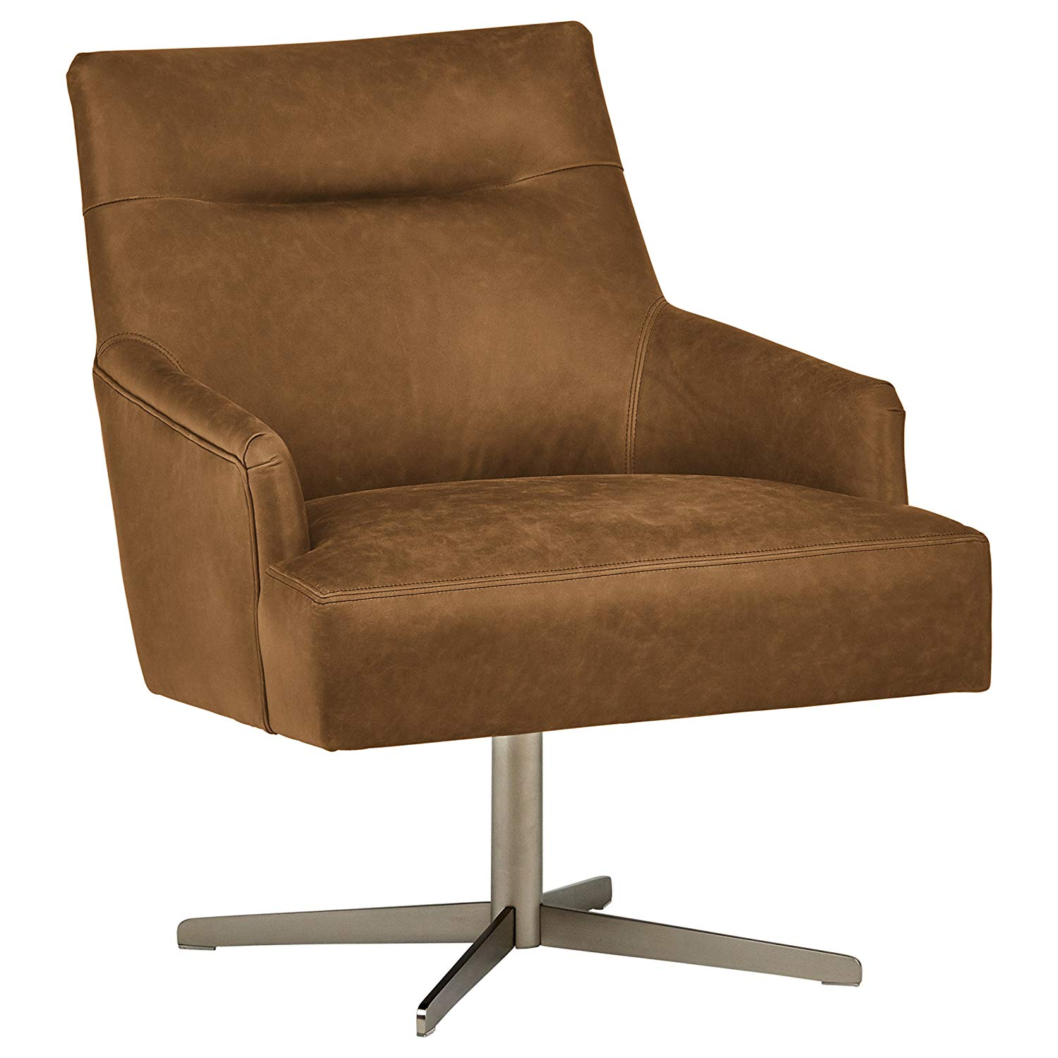 "Rivet Zane Mid-Century Modern Swivel Top-Grain Leather Chair, 28.75"" W, Saddle"