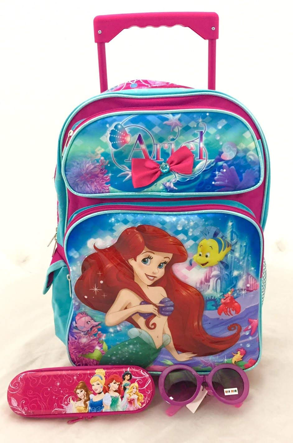 84c7fb4c764 Get Quotations · Christmas Gift - Ariel Mermaid Large Rolling Backpack and  Mickey Body Wash Set
