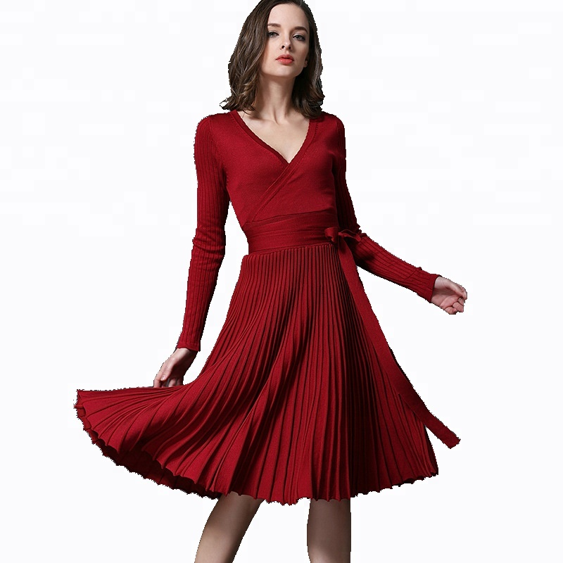 Elegant Deep V-neck Knit Sweater <strong>Dress</strong> Lady <strong>Dress</strong>