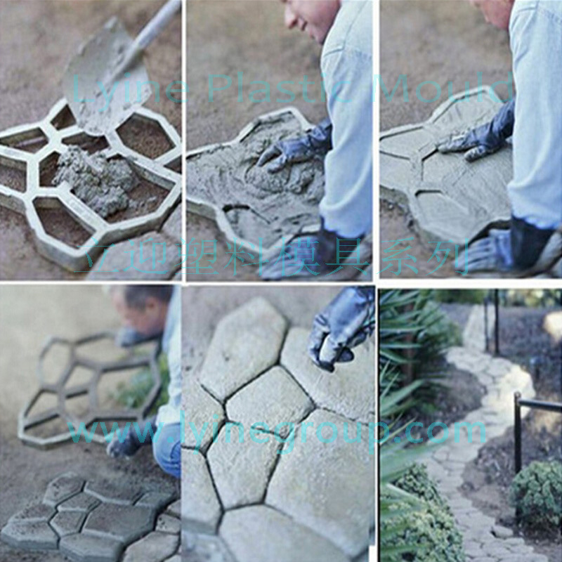 Path Walkway Maker Concrete Stepping Stone Mold Random Pattern Cement Form