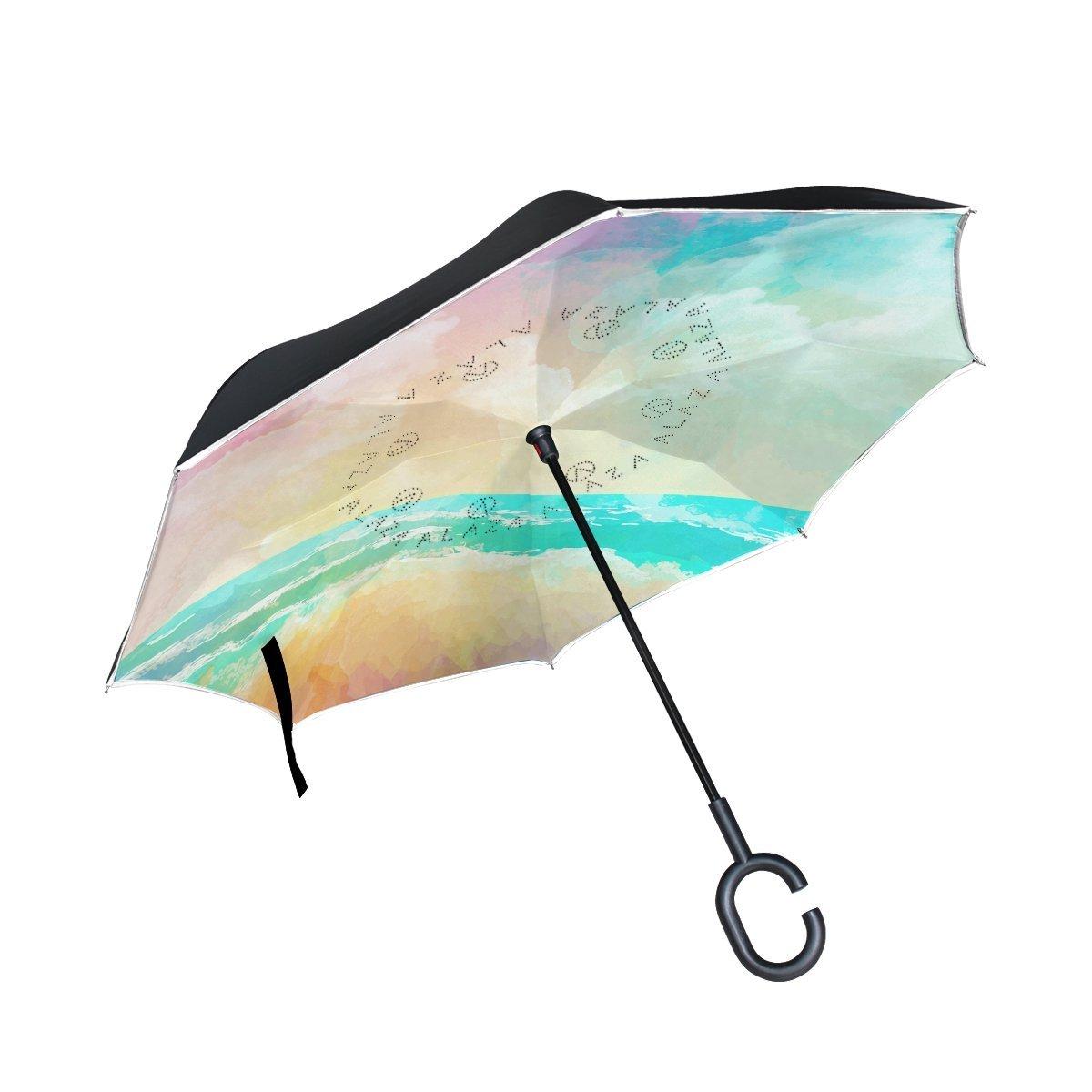 Double Layer Umbrellas Funny Bald Eagles Reverse Folding Umbrella Windproof UV Protection