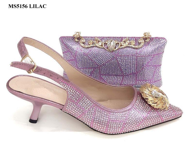 d479f8336 Estilo italiano saco sapatas das mulheres definida verão lilás nigéria  noite pedras partido sapatos e bolsa
