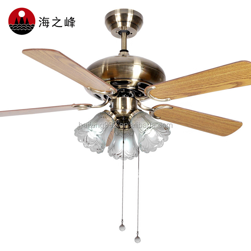 zhongshan 52 inch bronze color wooden fan blade ceiling fans with 5 lights