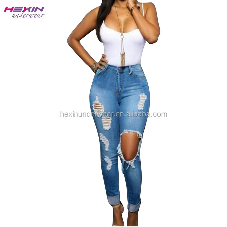 Trend Fashion Slim Ripped Jeans Wholesale OEM Supplier