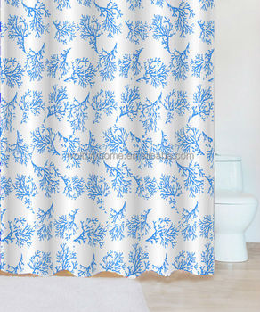 Coral Sea Blue Printed Fabric Shower Curtain