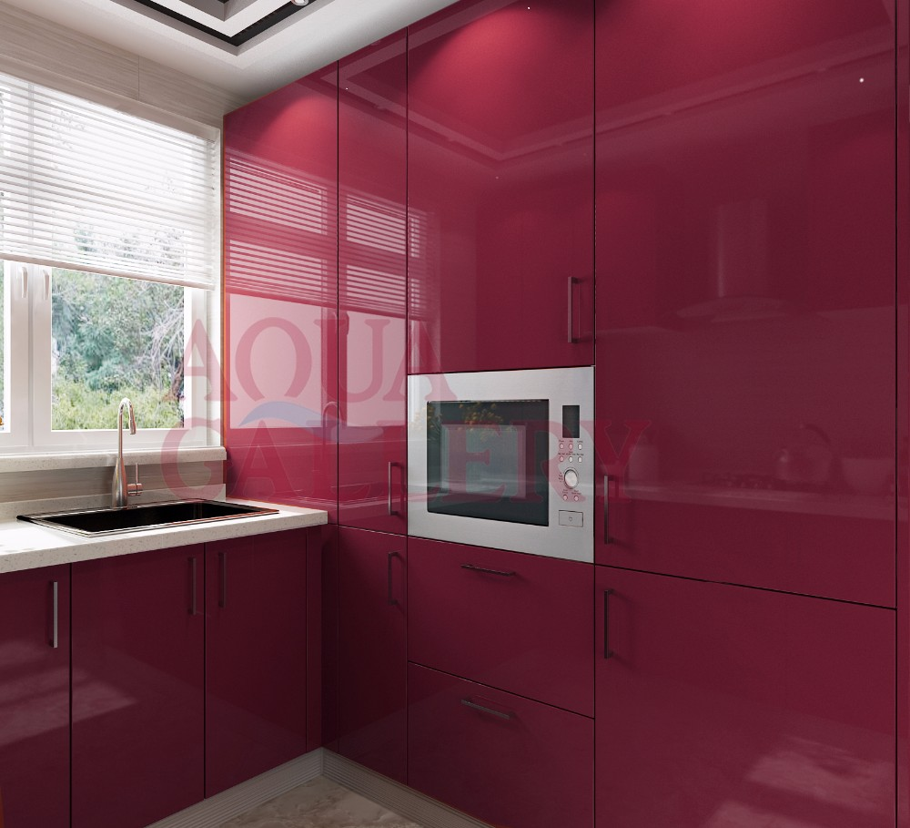 High Gloss Wine Red Color Crystal Steel Board Kitchen Cabinet With Sink And Handle Buy Kitchen Cabinet Crystal Steel Board Kitchen Cabinet Wine Red