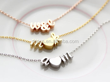 women thin gold chain necklace designs with Tiny Rose Gold Initials Script  Letter Heart Charm 0198d9a5e3b3