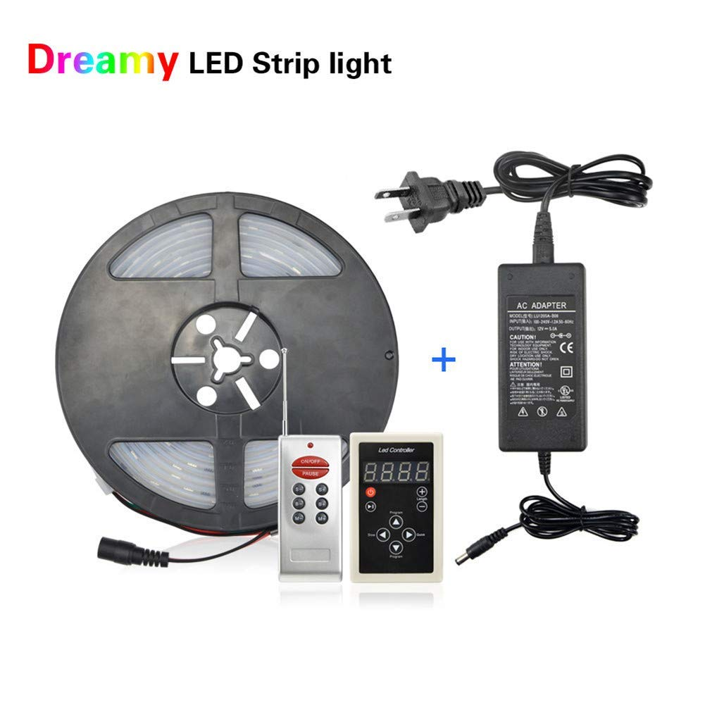 Led Strip Lights with Remote, Led Lights Strip Waterproof IP67,AIMENGTE 5M 12V Addressable WS2811 IC Control Dream Magic Color RGB 5050 SMD LED Pixels Night Light with 5A Adapter.
