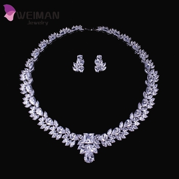White Gold Plated Marquise Shape Cz Diamond Choker Necklaces And Earrings Jewelry Sets For Women