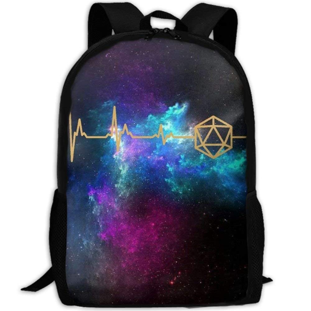 Zx7CAp3 D20 Dice DnD Heartbeat - Slaying Dragons In Dungeons Laptop Backpack, Travel Computer Bag For Women & Men, Anti Theft Water Resistant College School Bookbag For Girls & Boys