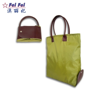 Small Reusable Nylon Zip Top Up Black Per Pocket Foldable Tote Bag With Snap Closure