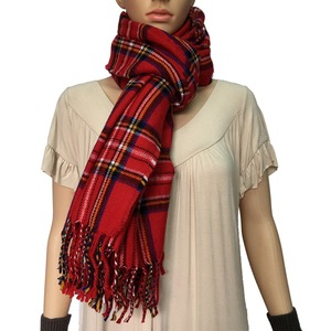 woven neck chief tartan red plaid scarf winter scarf check scarf