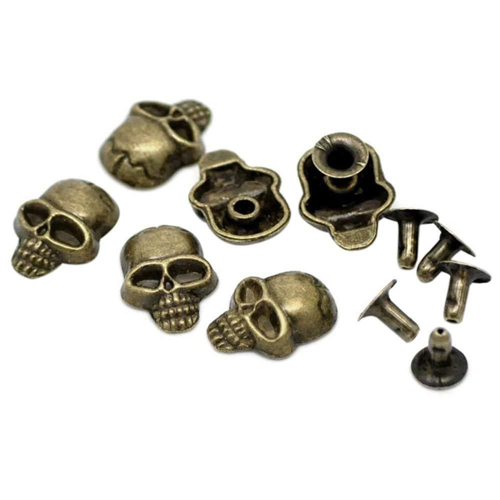 SODIAL(R) 50 Sets Bronze Tone Skull Spike Rivet Studs Spots 16x12mm(5/8x4/8inch), 7mm(2/8inch)