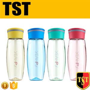 600ml 20oz Straw Cap Plastic Sports Water Bottles With Ring