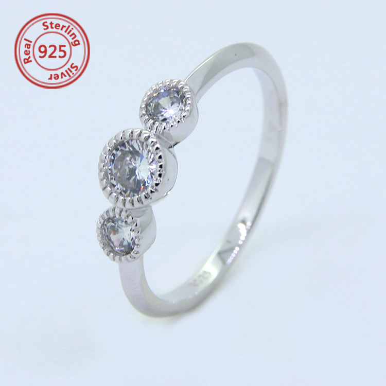 Sterling Silver Triple round CZ Ring sterling silver ring jewelry hallmarks