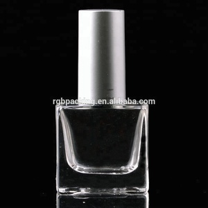 Custom 10Ml Square Glass Nail Polish Empty Bottle With Matte Silver Cap