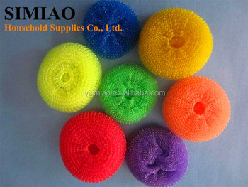 kitchen used mesh plastic dish scrubber