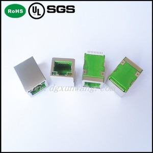 Shield connecter rj45 with transformer Green color plug