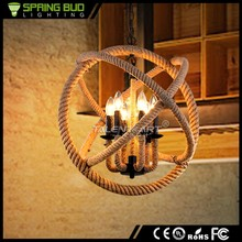American Country Style Loft retro ball shade hemp rope Chandeliers industrial pendant lamp/light/lighting