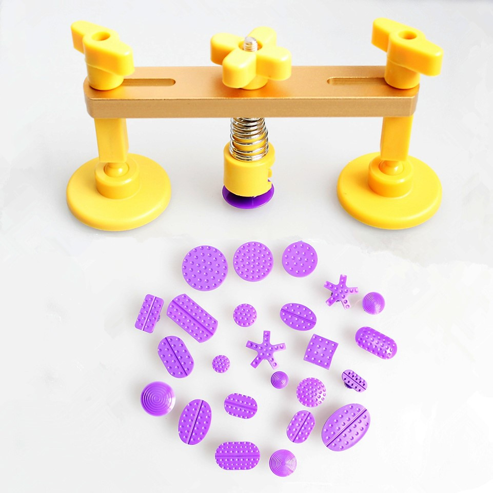 Bridge Dent Puller Kit Auto Body Dent Removal Tools Pops Dent & Ding PDR Tools Hand Tool with 24pcs Different Size PDR Glue Tabs
