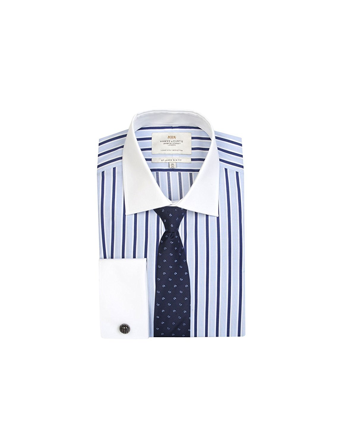 078326d87b Get Quotations · HAWES & CURTIS Mens Blue & Navy Multi Stripe Slim Fit Shirt  With White Collar&Cuff -