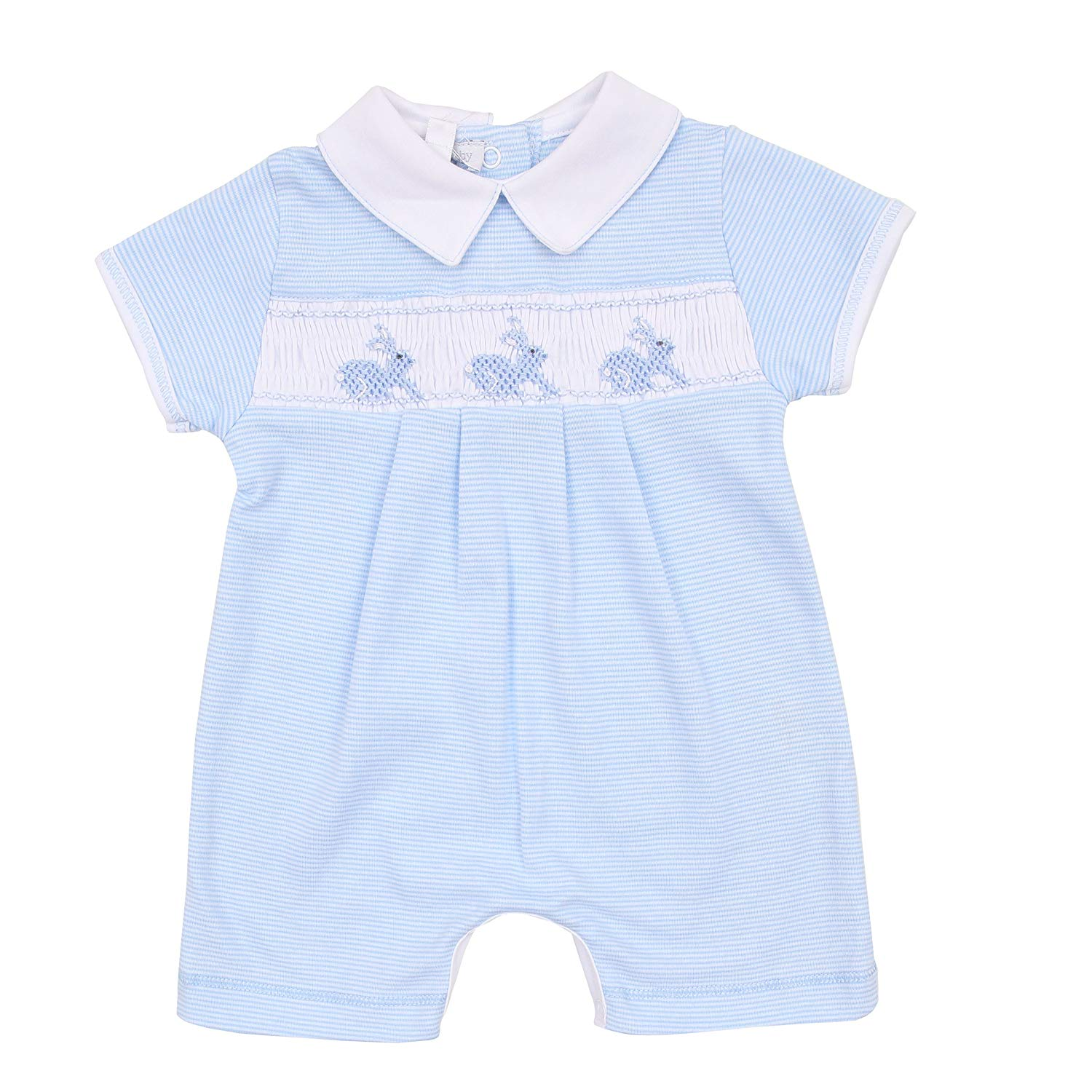 a937fb005778 Get Quotations · Magnolia Baby Baby Boy Classic Little Bunny Smocked  Collared Short Playsuit Blue