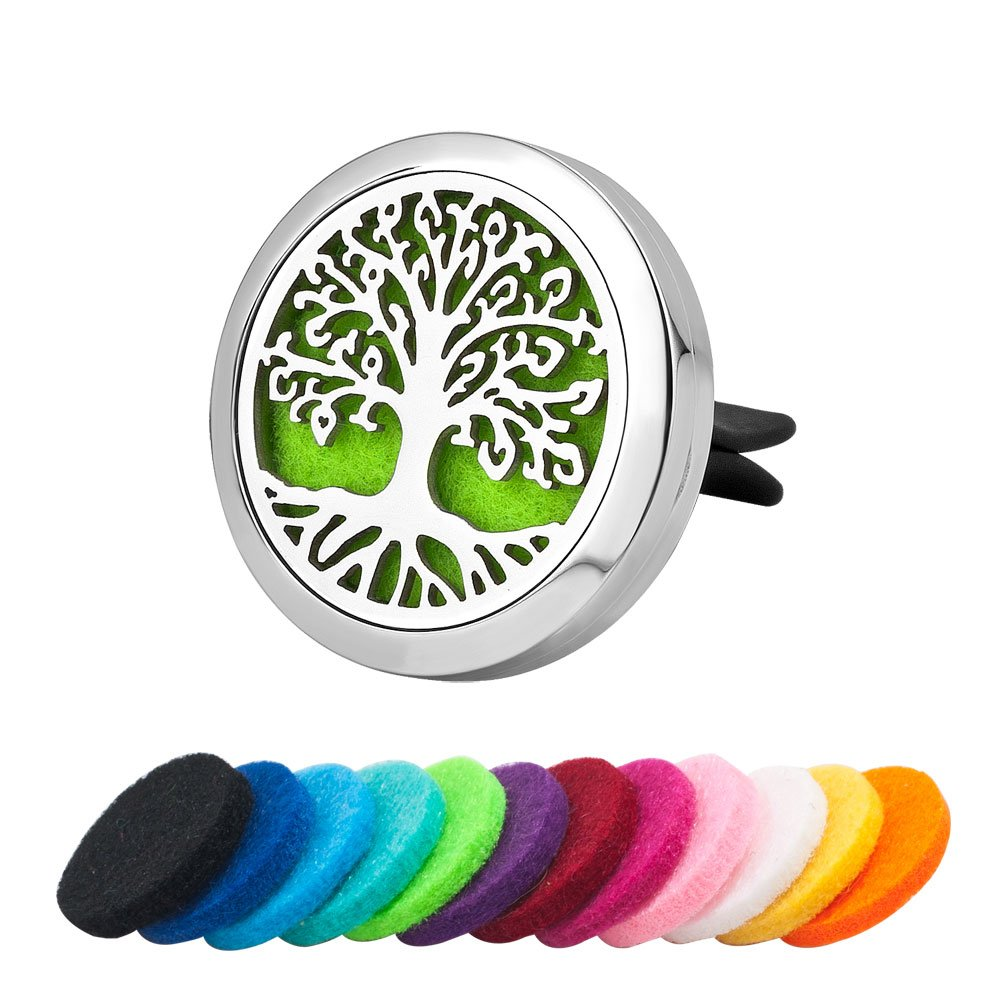 Third Time Charm Aromatherapy Car Essential Oil Diffuser Vent Clip Air Freshener Stainless Steel Tree Of Life Locket, 12 Refill Pads