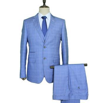 7b81f29cf67b mens 3 piece coat pant formal italian woolen plaid slim fit custom blue  latest design new