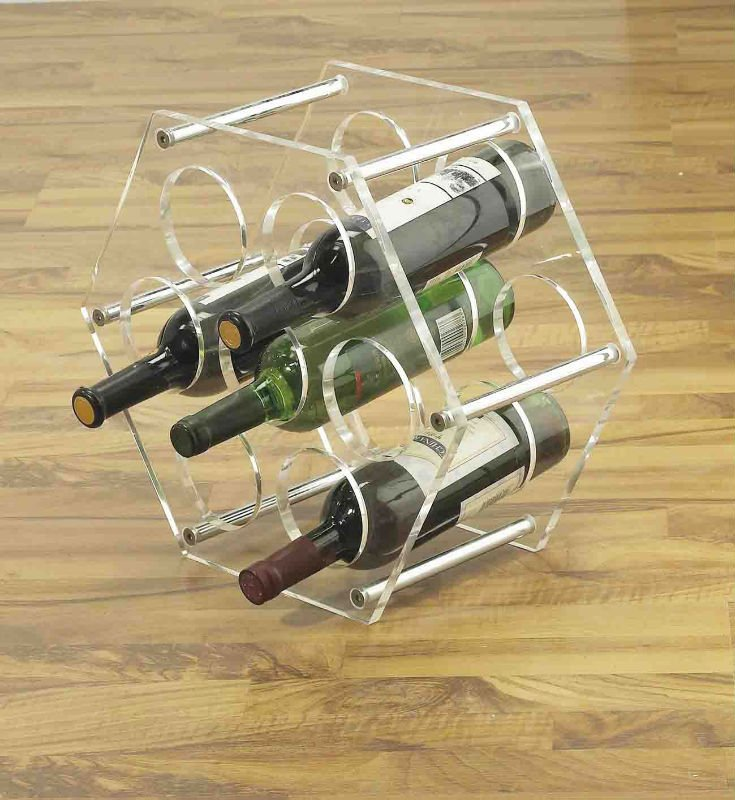 Balancing Transparent Counter Acrylic Wine Rack Acrylic Wine Display Holder Stand with Customized Logo