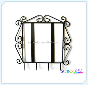 Black Wrought Iron Prcture Tile Frame With Key Hooks Buy Wrought