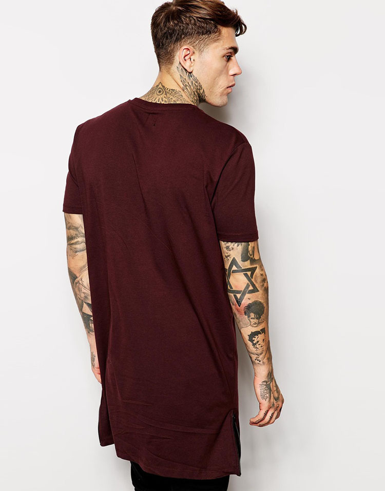 Wholesale Plain Long Line T Shirt Men With Side Zipper Made In ...