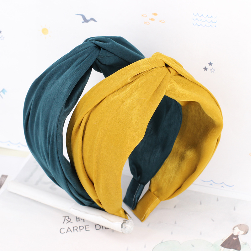 2018 New Design Fashion <strong>Hair</strong> <strong>Accessories</strong> Solid Knot Wide Hairband Headbands For Women