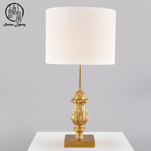 Vintage Style Designer Home Goods Decorative Wooden Desk Lamp Contemporary Gold Wood Table Lamps