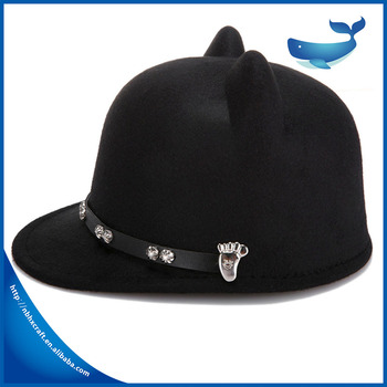 Winter Lovely Ladies Wool Felt Bowler Hat With Leather Decoration ... 59a3fdfd49e5