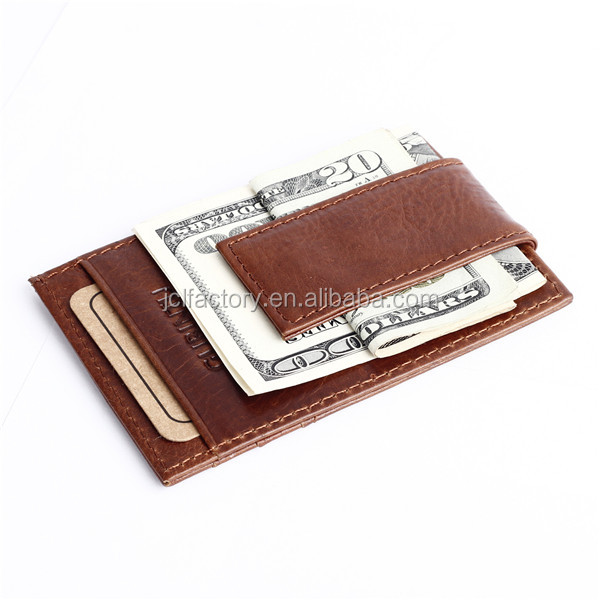 magnetic leather money clip metal card holder wallet clips