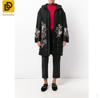 Women Latest new arrival cheap embroidered quilted black wool-silk overcoat