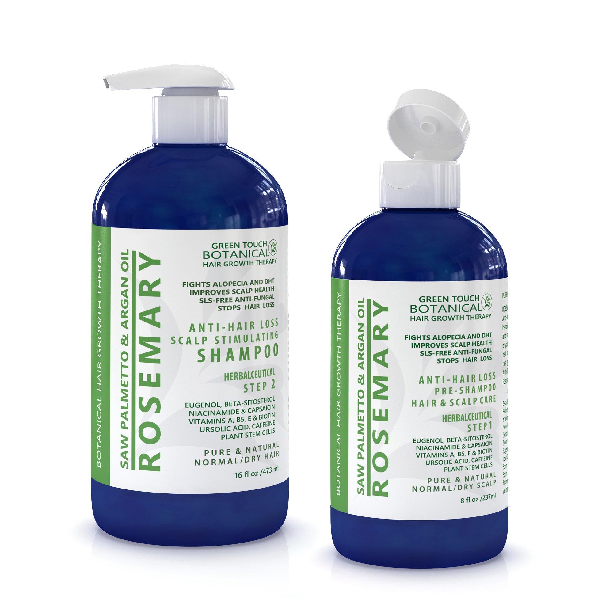 Hair Growth Botanical STEP 1 & 2: Organic Anti Hair Loss Scalp Treatment (8 Fl Oz) and Organic Hair Loss Shampoo Rosemary /Saw Palmetto & Argan Oil For Hair & Scalp (16 Fl Oz)