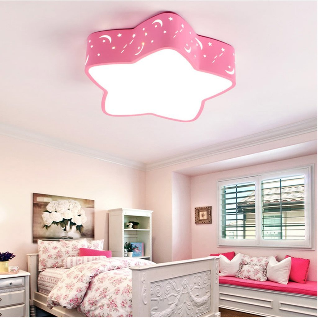 LOFAMI Modern Creative Star LED Ceiling Lamp Children's Room Romantic Chandeliers, Eye-Care Acrylic Hollow Metal Ceiling Light,Red (Color : White light, Size : 4810cm)