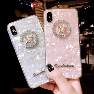 In stock luxury case for girls beautiful diamond pearl mobile phone case TPU cell phone back cover for iphone X