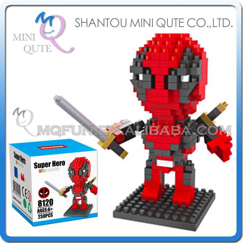 Mini Qute Hsanhe 3d Marvel Avenger Super Hero Deadpool Plastic ...