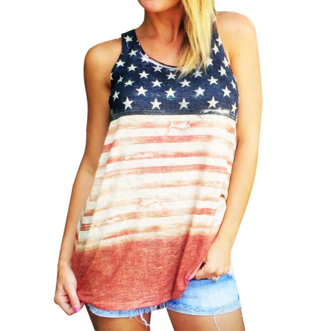 American Flag Printed Tops,FUNIC Women Sleeveless Tank Crop Tops Vest Blouse (Large, Multicolor)