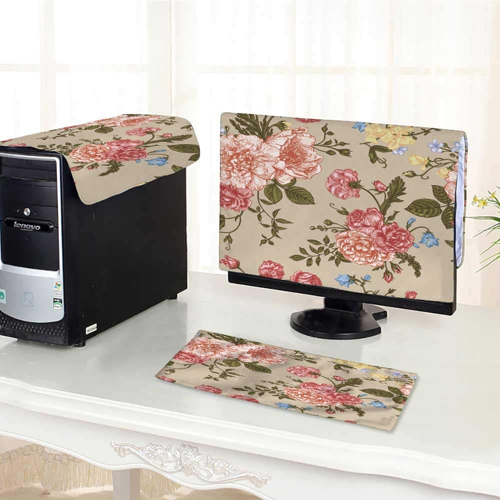 UHOO2018 Keyboard dust Cover Computer 3 Pieces with Flowers on a Beige Background Peonies Roses Computer dust Cover /21""