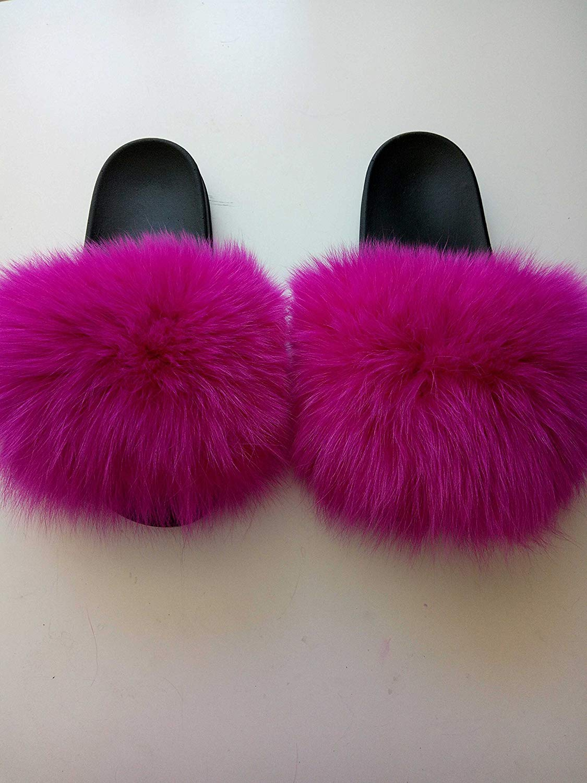dd052b005107 Get Quotations · Real Fox Furry Flip Flips Women Fashion Slippers Sandals  fuchsia genuine fox fluffy Pompoms Women Shoes