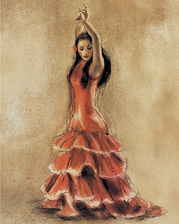 Spanish Flamenco Dancer Girl Dancing Oil Painting on Semifinished Cotton Canvas