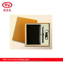Fashion pu notebook with pen with key chain