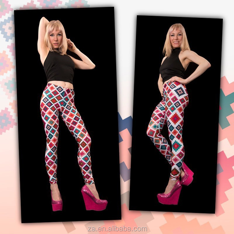Wholesale ready stock fast deliver color cross diamond ladies printed legging
