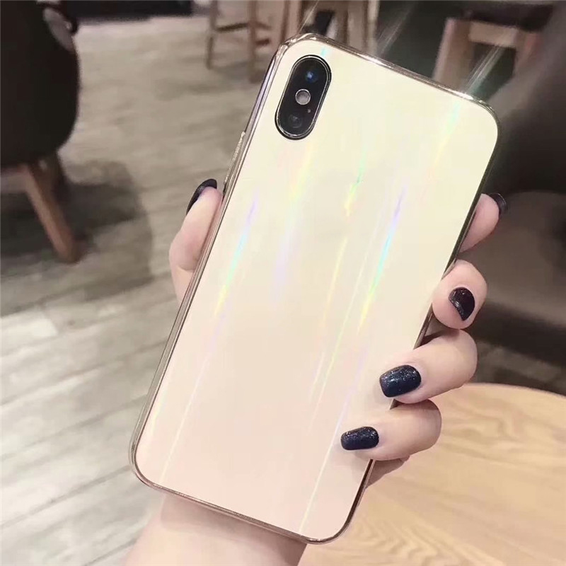 Fashion cool aurora laser glass phone case for iphone x, for iphone x case glass tpu clear