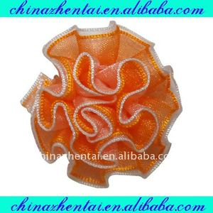 Apparel decorative sheer organza ribbon flower