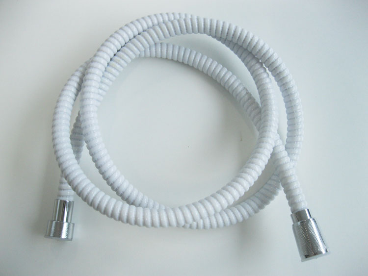 White Pvc Flexible Handheld Shower Hose With Zinc Nuts And Brass ...